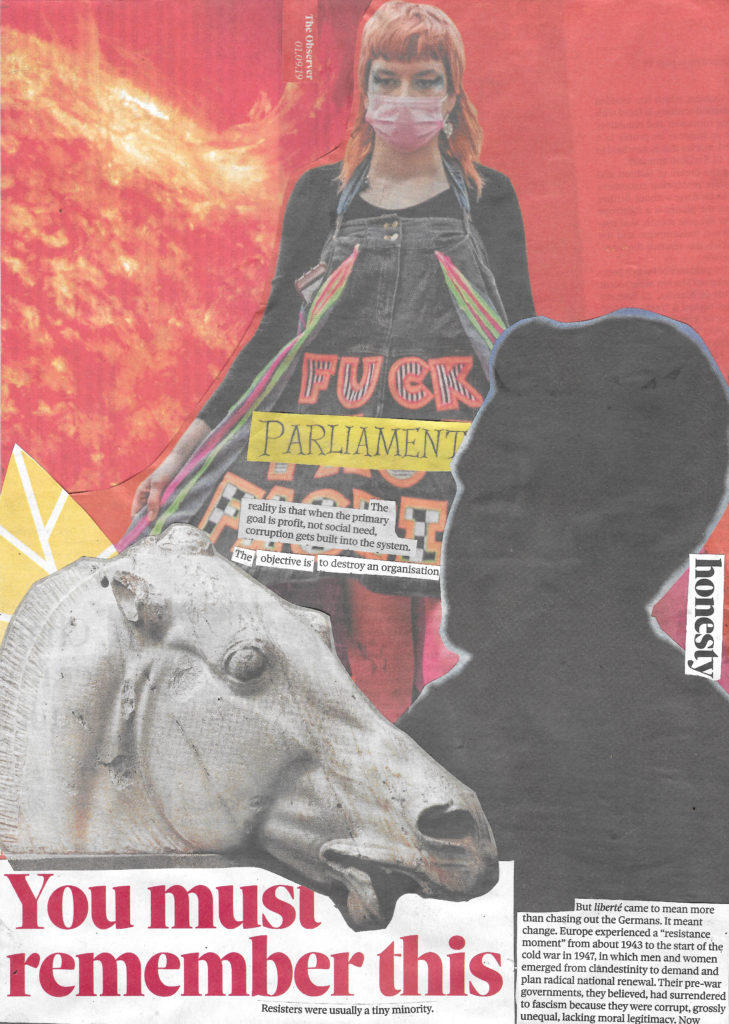 Collage from The Observer newspaper, 01 September 2019