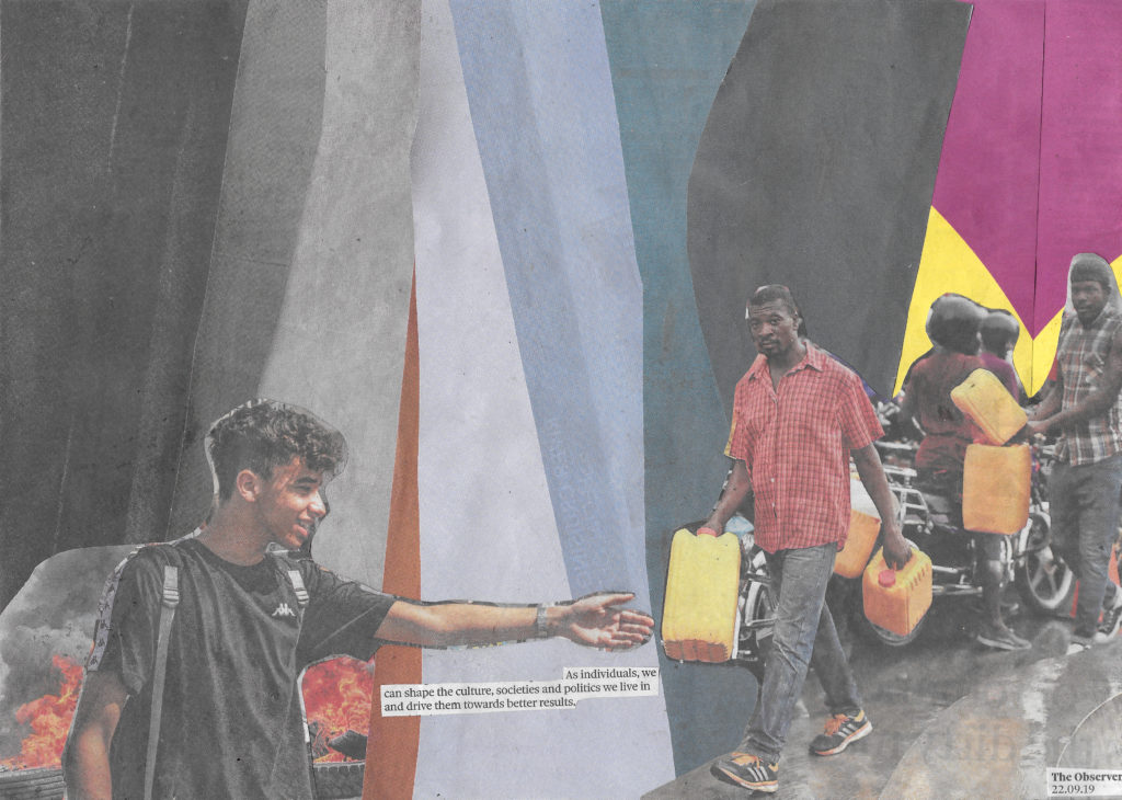 Collage from The Observer newspaper, 22 September 2019